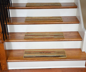 "Dean Premium Carpet Stair Treads - Striation Stripes Beige 26"" x 9"" (Set of 13)"