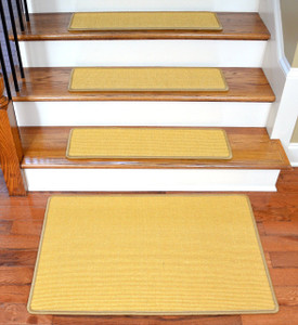 "Dean Non-Slip Tape Free Pet Friendly Stair Gripper Natural Fiber Sisal Carpet Stair Treads - Island Gold 29""W (15) Plus a Matching 2' x 3' Landing Mat"