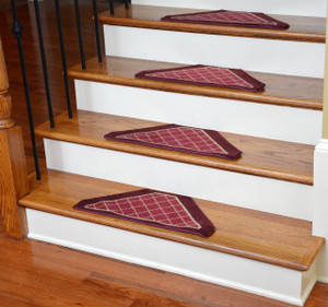 Washable Non-Skid Carpet Stair Treads - Burgundy Checkerboard (13)