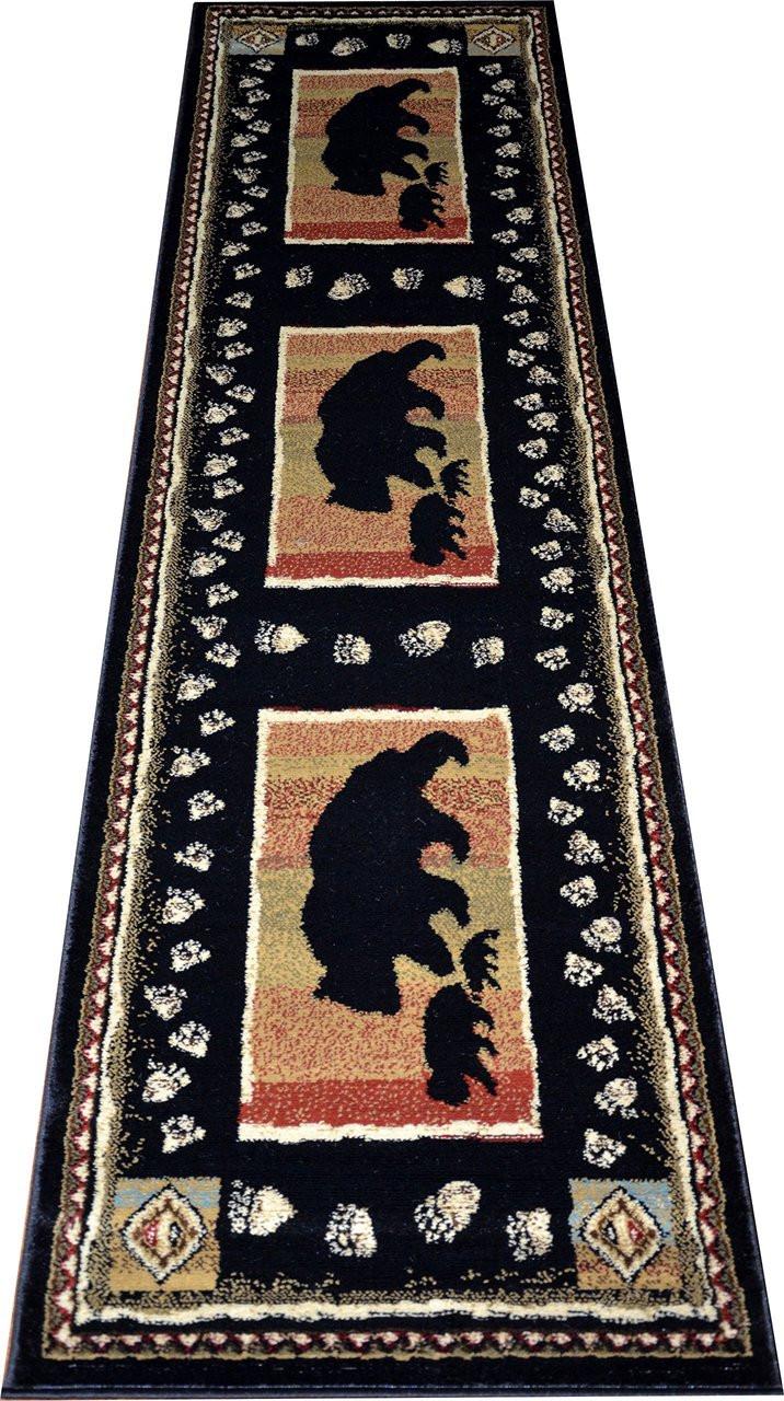 Dean Black Bear Lodge Cabin Bear Carpet Runner Rug