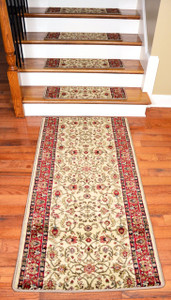 "Dean Premium Carpet Stair Treads - Classic Keshan Antique 31""W (13) Plus a 5' Runner"