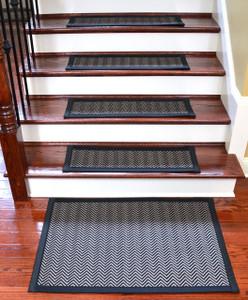 """Dean Hatteras Flatweave Indoor/Outdoor Carpet Stair Treads/Runners/Mats/Rugs - Chevron Black/Black 29""""x9""""(15) Plus a Matching 2' x 3' Landing Mat"""