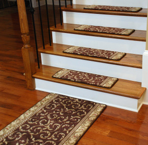 Premium Carpet Stair Treads - Brown Scrollwork PLUS a Matching 5' Runner