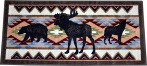 "Washable Non-Slip ""Woodlands Party"" Cabin Moose/Bear/Wolf Kitchen Door Entrance Mat/Rug 20""x44"""