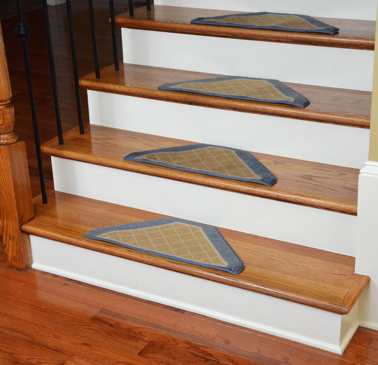 Washable Non Skid Carpet Stair Treads Gold And Blue