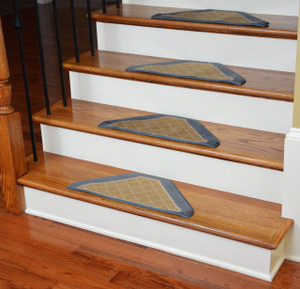 Washable Non-Skid Carpet Stair Treads - Gold and Blue Checkerboard (13)