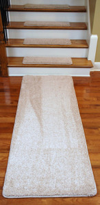 "Dean Premium Serged DIY Carpet Stair Treads 27"" x 9"" Pale Straw 70 Oz (13) PLUS a Matching 6' Runner"
