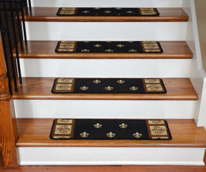 "Dean Premium Carpet Stair Treads - Black Fleur-De-Lys 31"" x 9"" (Set of 13)"