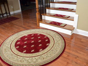 "Premium Carpet Stair Treads - Regal Red - Plus a Matching 5' 3"" Round Landing Rug"
