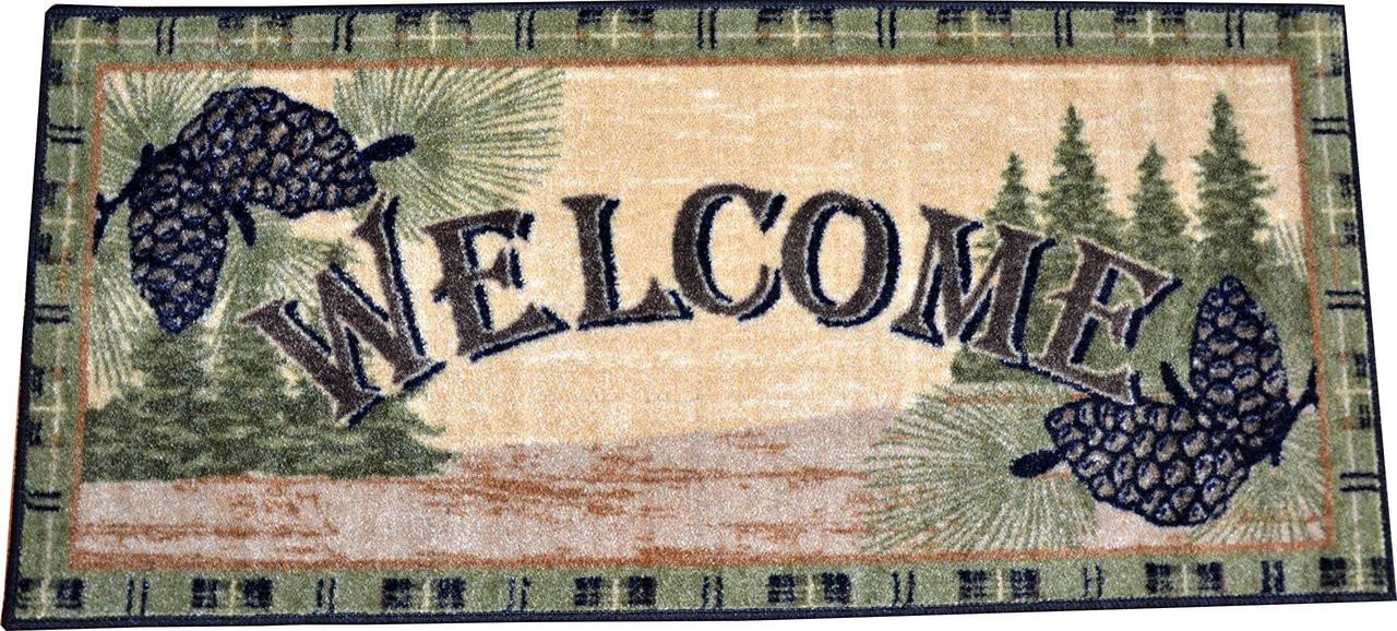 Washable Non Slip Pine Cone Quot Welcome Quot Cabin Kitchen Door