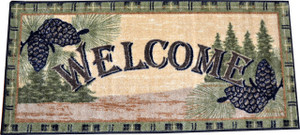"Washable Non-Slip Pine Cone ""Welcome"" Cabin Kitchen Door Entrance Mat/Rug 20"" x 44"""