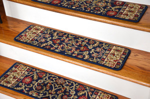 "Dean Premium Carpet Stair Treads - Classic Keshan Navy Blue Rug Runners 31""W Set of 13"