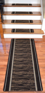Washable Non-Skid Carpet Stair Treads - Boxer Chocolate (13) PLUS a Matching 5' Runner