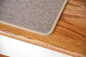 """Dean Serged DIY Carpet Stair Treads 27"""" x 9"""" - Beige Suede - Set of 13"""