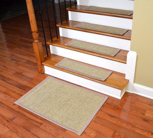 carpet stair treads home depot canada dean attachable non slip sisal tread runner rugs desert sand set plus matching landing mat bullnose wraparound installing