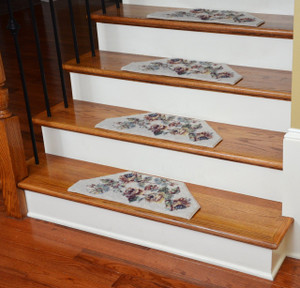 Washable Non-Skid Carpet Stair Treads - Beige Flower (13)