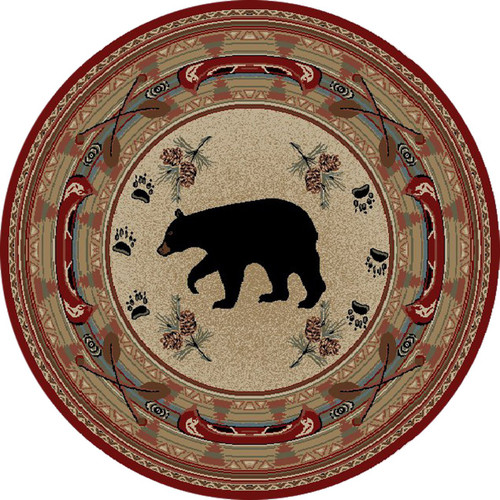 Bear Motif Area Rug 5 3 Quot Round Dean Flooring Company