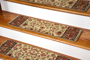 "Dean Non-Slip Pet Friendly Carpet Stair Step Cover Treads - Classic Keshan Ivory Mocha 31""W"
