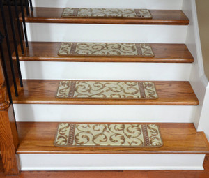 Dean Premium Carpet Stair Treads - Vanilla Scrollwork Set of 13