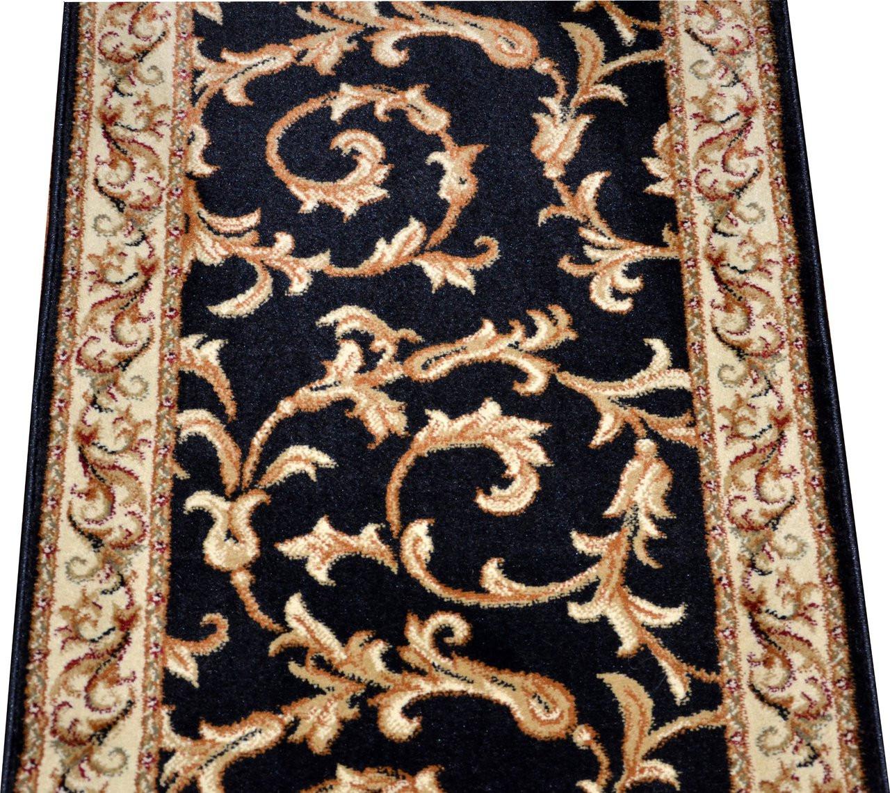Runner Rug Lengths: Dean Black Scrollworks Custom Length Carpet Rug Hallway