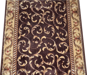 Dean Brown Scrollwork Carpet Rug Hallway Stair Runner - Purchase by the Linear Foot