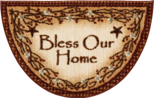 "Washable Non-Skid ""Bless Our Home"" Kitchen Mat/Rug Half Circle 19"" x 31"" Color: Brown"