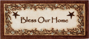 "Washable Non-Skid ""Bless Our Home"" Kitchen Mat/Rug 20"" x 44"" Color: Brown"