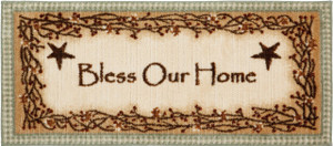 "Washable Non-Skid ""Bless Our Home"" Kitchen Mat/Rug 20"" x 44"" Color: Sage"