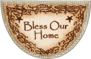 "Washable Non-Skid ""Bless Our Home"" Kitchen Mat/Rug Half Circle 19"" x 31"" Color: Sage"