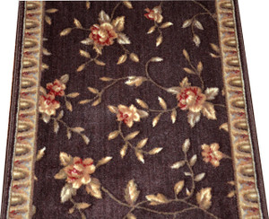 Dean Chocolate Spring Blossoms Carpet Rug Hallway Stair Runner - Purchase by the Linear Foot