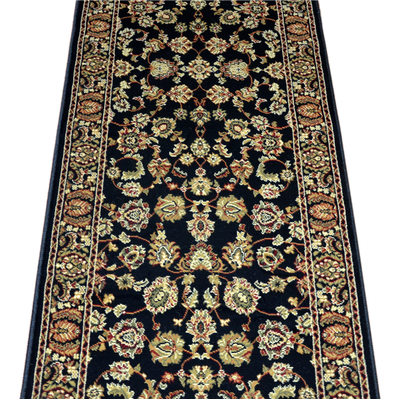 Dean Elegant Keshan Ebony Carpet Rug Hallway Stair Runner