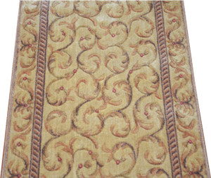 Dean Ivory/Beige Scrollwork Carpet Rug Hallway Stair Runner - Purchase by the Linear Foot