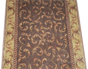 Dean Khaki Scrollwork Carpet Rug Hallway Stair Runner - Purchase by the Linear Foot