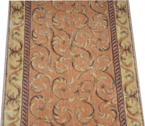 Dean Peach Scrollwork Carpet Rug Hallway Stair Runner - Purchase by the Linear Foot