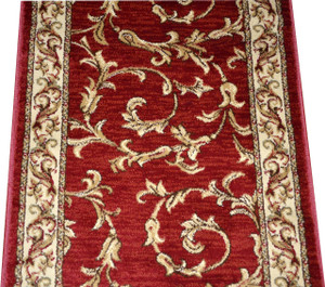 Dean Red Scrollworks Carpet Rug Hallway Stair Runner   Purchase By The  Linear Foot