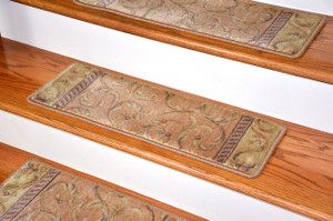 Dean Premium Carpet Stair Treads - Peach Scrollwork (13)