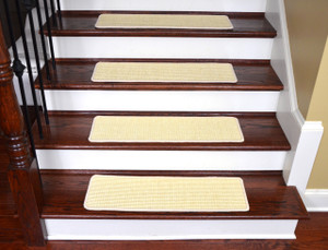"Dean Non-Slip Tape Free Pet Friendly Stair Gripper Natural Fiber Sisal Carpet Stair Treads - Island Ivory 29""W (15)"