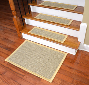 Dean Attachable Non-Slip Sisal Carpet Stair Tread Runner Rugs - Desert/Yellow (Set of 13) Plus a Matching 2' x 3' Landing Mat