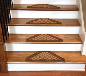 Dean Washable Non Skid Carpet Stair Treads - Beige Checkerboard Hexagon (Set of 13)