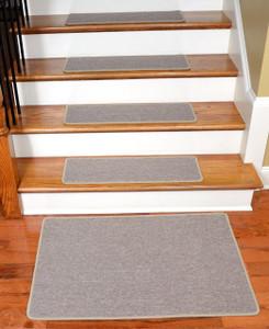 "Dean Serged DIY Carpet Stair Treads 27"" x 9"" - Beige Suede - Set of 13 Plus a Matching 2' x 3' Landing Mat"