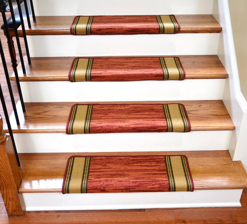Dean Modern DIY Bullnose Wraparound Non Skid Carpet Stair Treads   Boxer  Terra Cotta