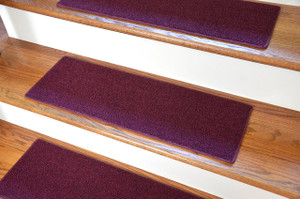 "Dean Non-Slip Tape Free Pet Friendly DIY Carpet Stair Treads/Rugs 27"" x 9"" (15) - Color: Burgundy"