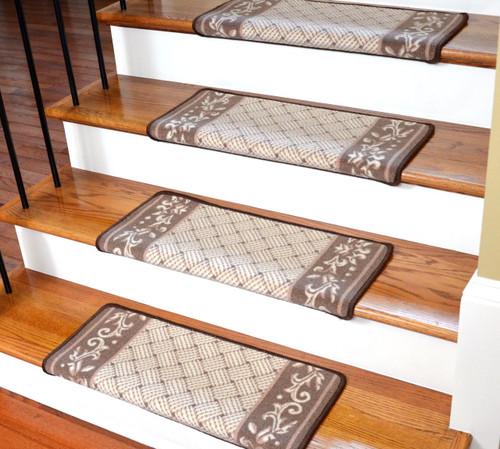 Superior Dean Modern DIY Bullnose Wraparound Non Skid Carpet Stair Treads   Caramel  Scroll Border