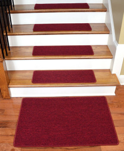 "Dean Serged DIY Carpet Stair Treads 27"" x 9"" - Cardinal Red - Set of 13 Plus a Matching 2' x 3' Landing Mat"