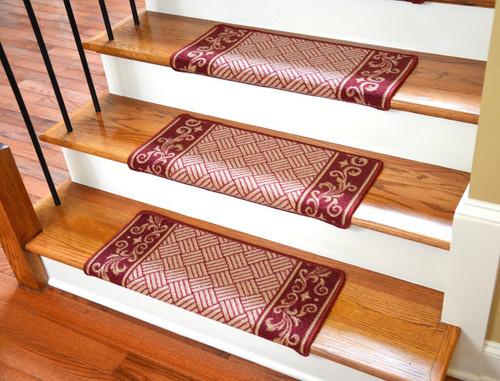 Dean Modern DIY Bullnose Wraparound Non Skid Carpet Stair Treads    Cranberrry Scroll Border