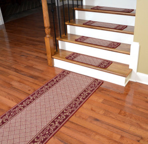Dean Washable Non-Skid Carpet Stair Treads - Cranberry Scroll Border (Set of 13) Plus a Matching 5' Runner
