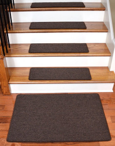"Dean Serged DIY Carpet Stair Treads 27"" x 9"" - Dark Brown - Set of 13 Plus a Matching 2' x 3' Landing Mat"