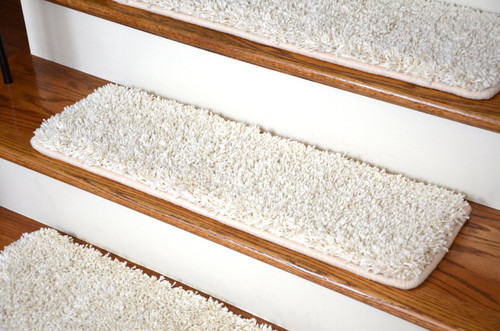 wool bullnose carpet stair treads for dogs dean premium deluxe ivory shag set wraparound