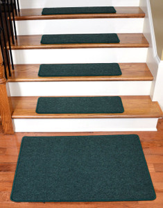 """Dean Serged DIY Carpet Stair Treads 27"""" x 9"""" - Emerald Green - Set of 13 Plus a Matching 2' x 3' Landing Mat"""