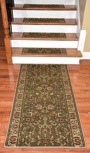 "Dean Premium Carpet Stair Tread Rugs and 5' Runner - Elegant Keshan Sage 31"" W"